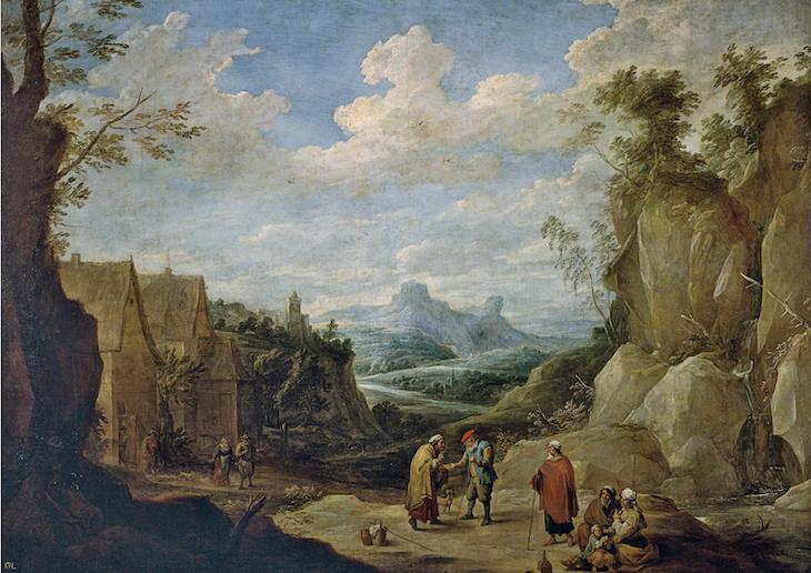 David Teniers O JOVEM Paisagem com Ciganos c. 1641-1645 Óleo sobre tela