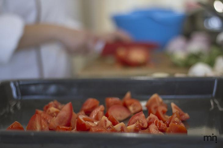 Risoto de tomates e pimentos assados