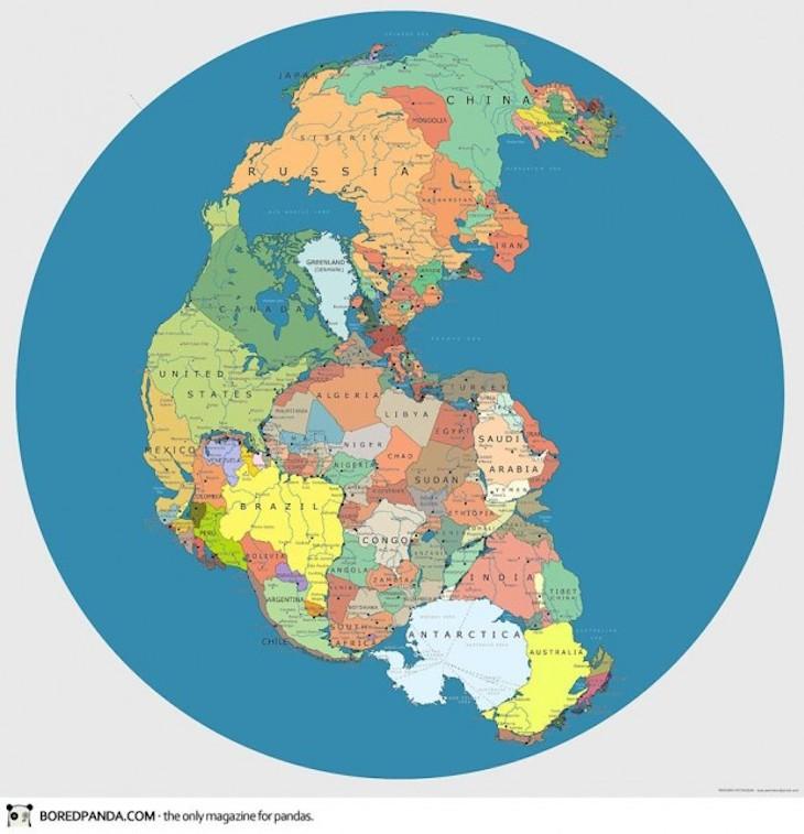 divisão política mundial na Pangeia de 200~300 milhões de anos atrás