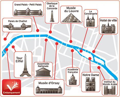 Mapa passeio rio Sena, Paris
