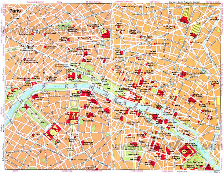 Mapa das ruas de Paris