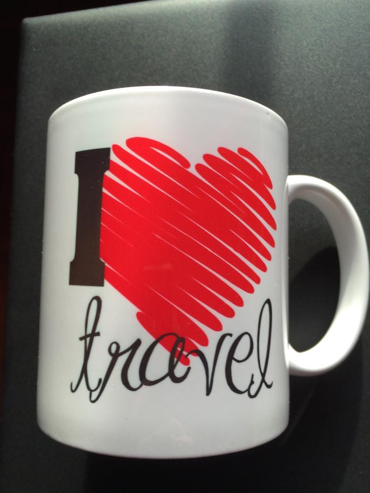 Frente da caneca I Love to Travel Viaje Comigo - brevemente disponíveis