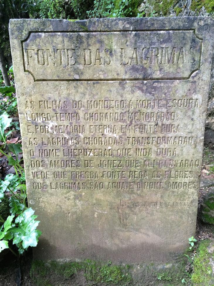 Pedra da Fonte das Lágrimas, com os versos de Camões