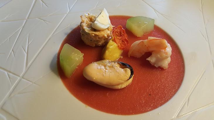 Trilogia de mariscos da nossa Costa com gelado de caril no Restaurante do Monverde © Viaje Comigo