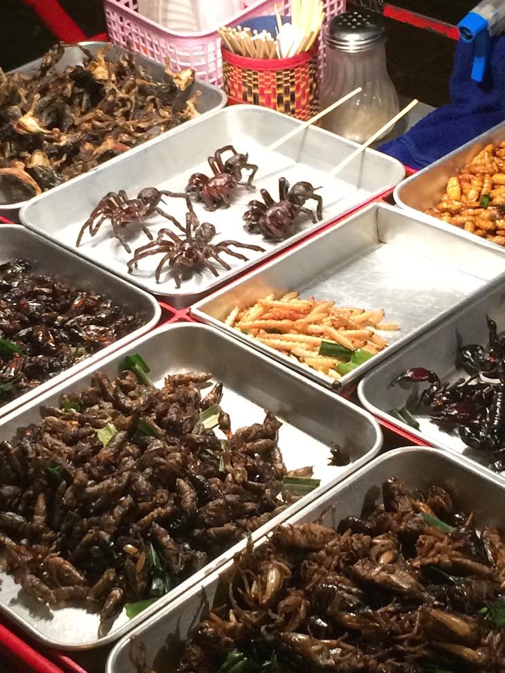 """""""Petiscos"""" de aranhas, gafanhotos, etc em Kao San Road Banguecoque - Tailândia © Viaje Comigo"""