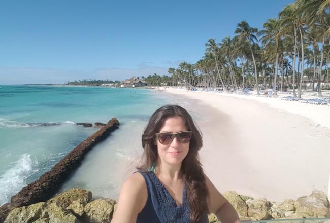 Imagem tirada com selfie stick - Susana Ribeiro em Club Med Punta Cana © Viaje Comigo