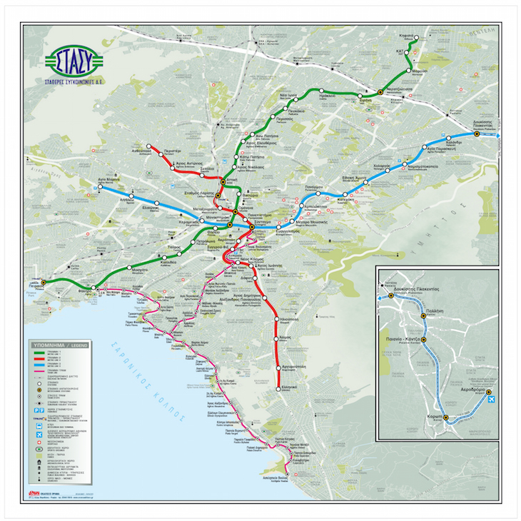 Mapa Metro e Tram, Atenas, Grécia - DR