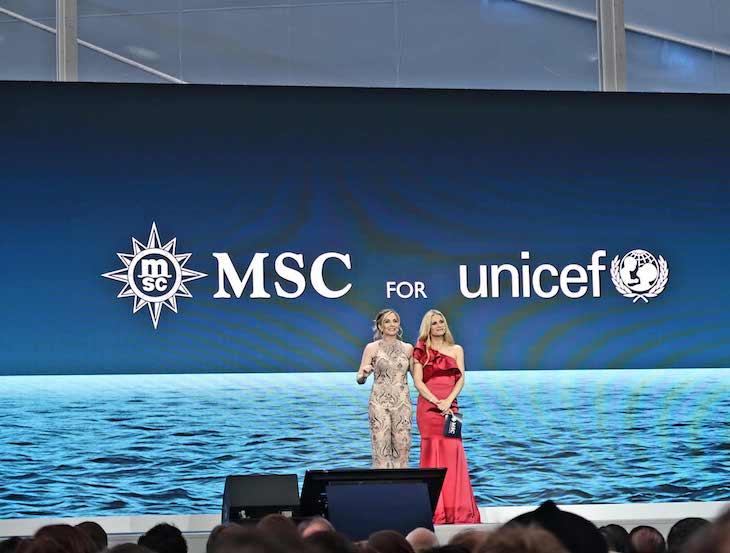 Apresentadoras na cerimónia de batismo do MSC Seaview © Viaje Comigo