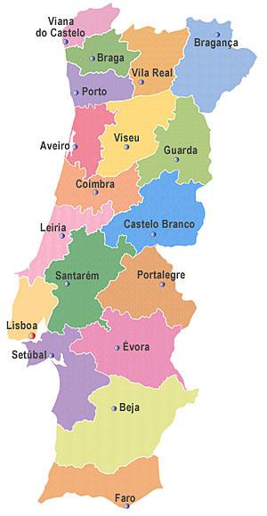 Mapa dos Distritos de Portugal - DR