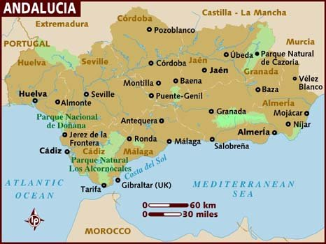 Mapa de Espanha - Mapa da Andaluzia