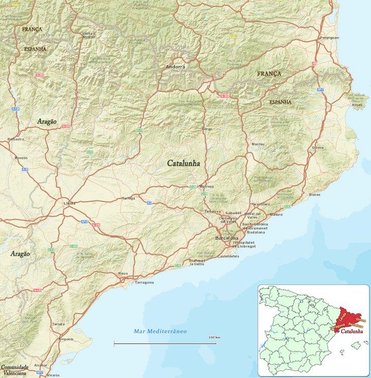 Mapa da Catalunha - www.espanha-turismo.com