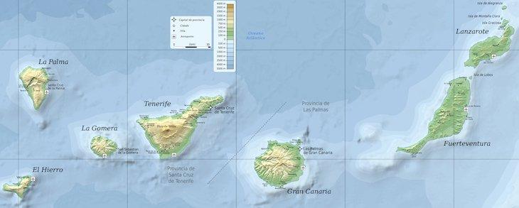 Mapa Ilhas Canárias - www.espanha-turismo.com