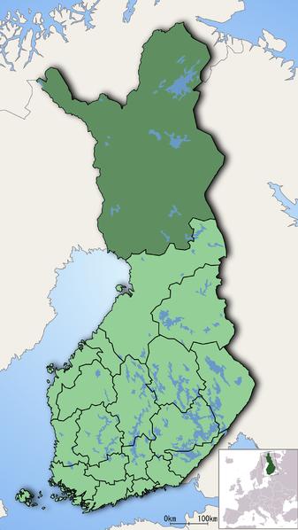 Lapónia no mapa da Finlândia