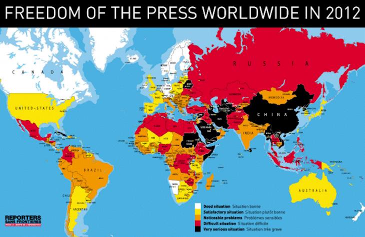 Liberdade de imprensa pelo mundo