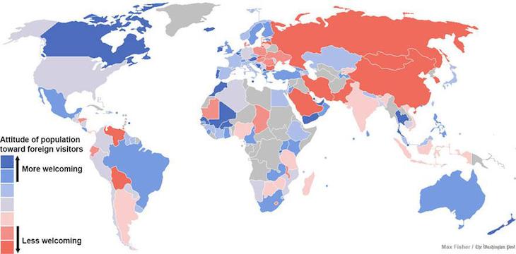 Mapa da receptividade de cada povo