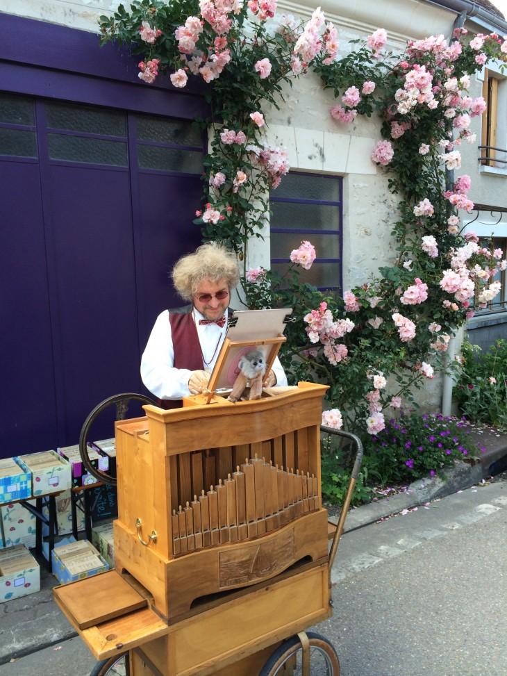 Tocador de realejo no Festival de rosas de Chédigny, França © Viaje Comigo