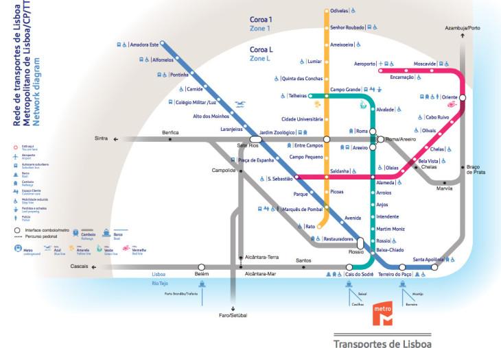 Mapa Mapa Das Linhas Do Metro De Lisboa