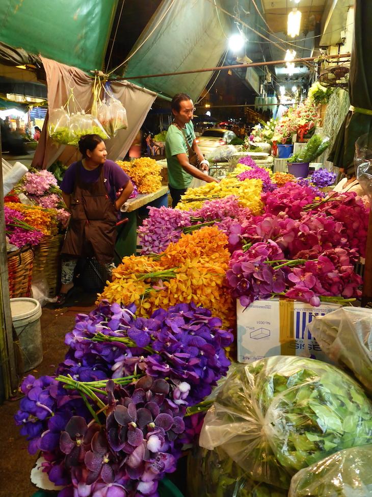 Vendedores no Mercado das Flores, Banguecoque © Viaje Comigo