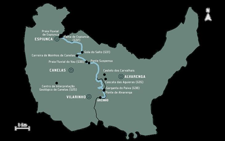 Mapa Passadiços do Paiva © Direitos Reservados Passadiços do Paiva.pt