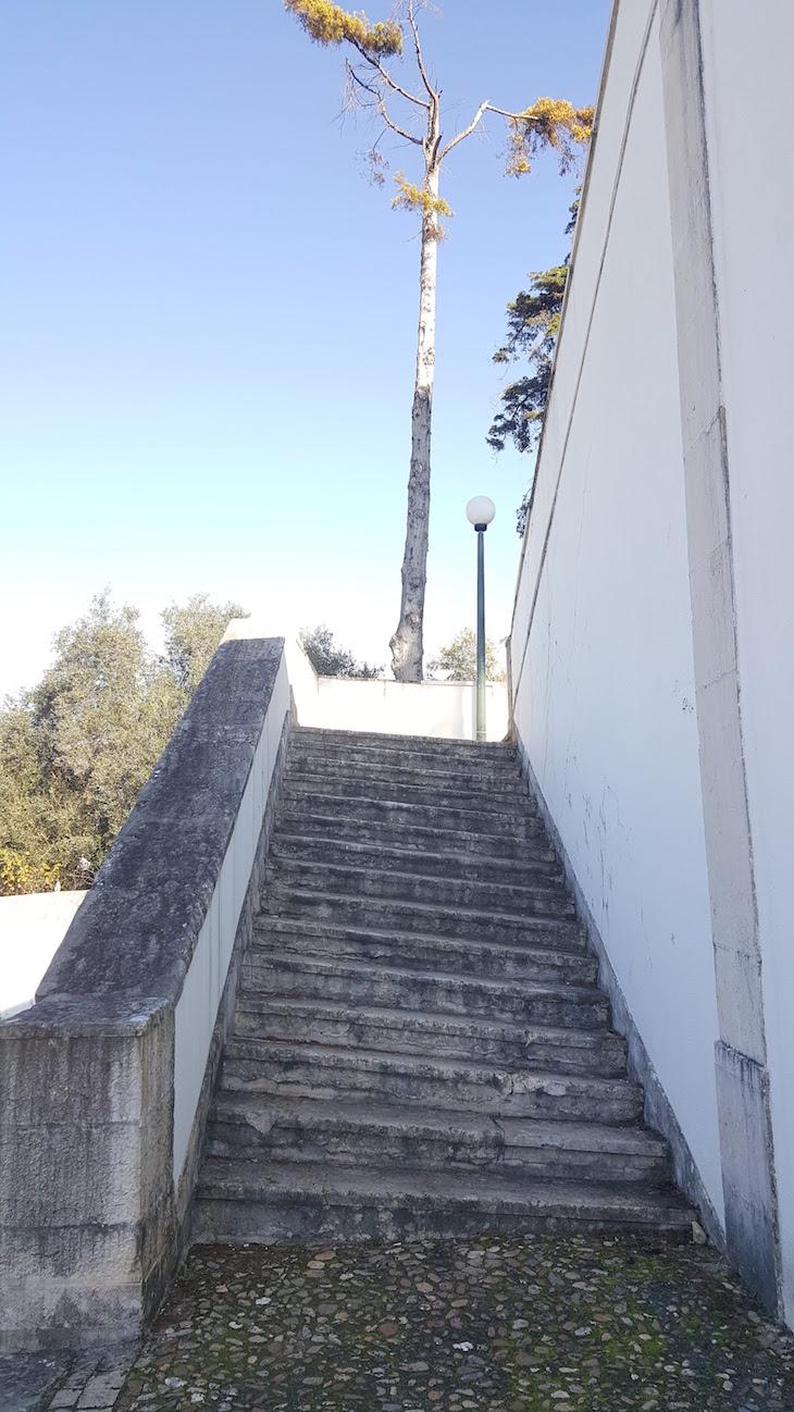 A escadaria torta no Santuário de Nossa Senhora da Encarnação, Leiria © Viaje Comigo