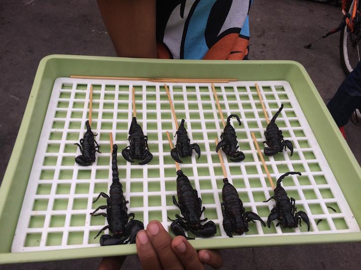 Escorpiões para comer na Kao San Road Banguecoque - Tailândia © Viaje Comigo