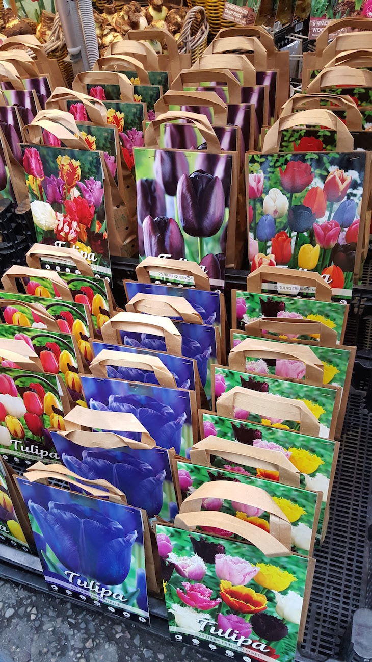 Sacos com bolbos no Bloemenmarkt - Mercado de Flores em Amesterdão © Viaje Comigo