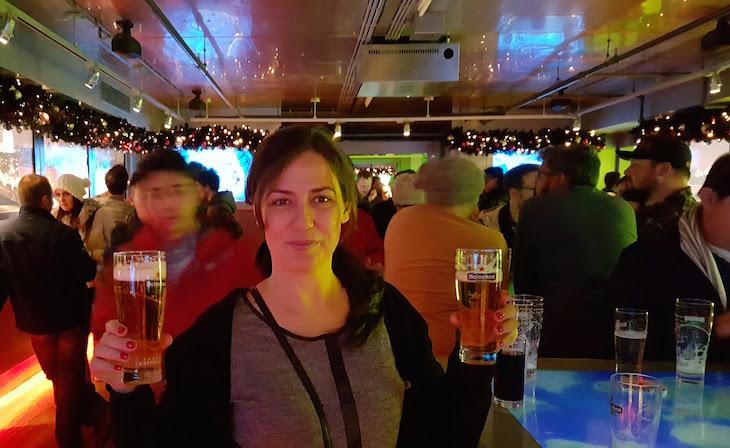 Susana na Heineken Experience em Amesterdão © Viaje Comigo