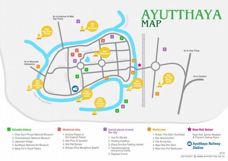 Mapa de Ayutthaya, Tailândia DR
