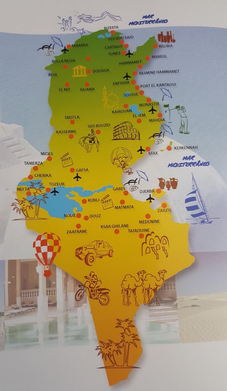 Mapa Tunísia
