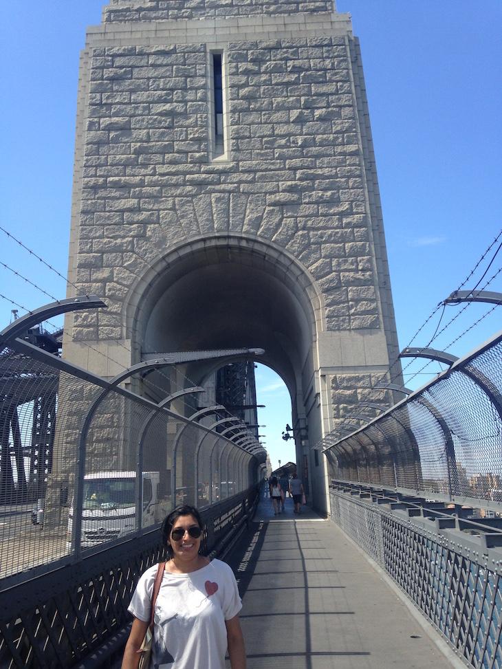 Detalhe da Harbour Bridge com a faixa para pedestres - Direitos Reservados