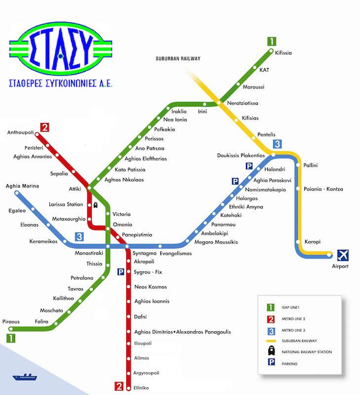 Mapa Metro, Atenas, Grécia - DR