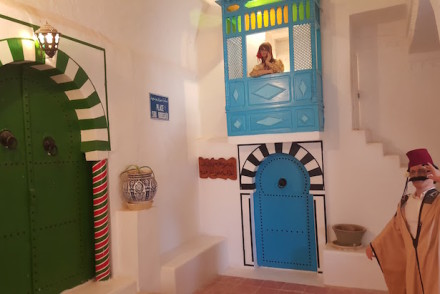 Representação de Sidi Bou Said - Museu de Guellala, Djerba, Tunísia © Viaje Comigo