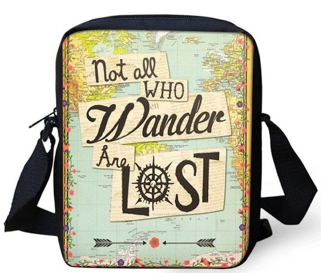 Carteira com frase inspiradora de viagem