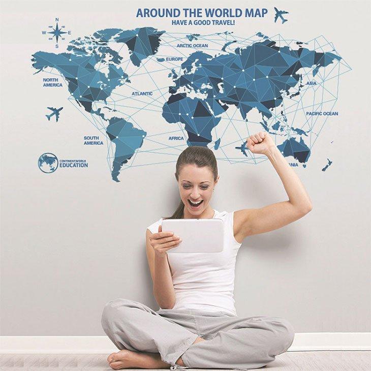 Mapa mundo azul para decoração de parede