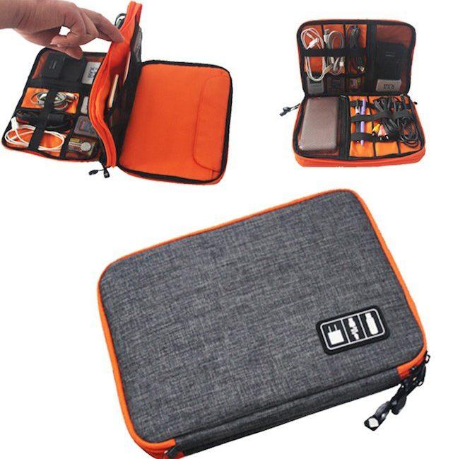 Bolsa para guardar fios e eletrónica de viagem