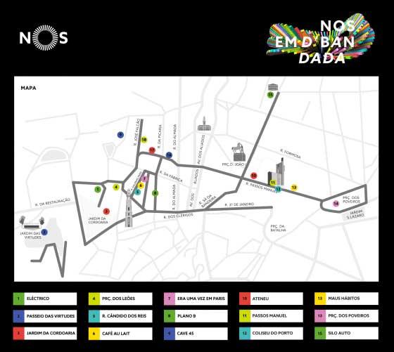 Mapa dos locais do NOS em D'Bandada 2016- DR
