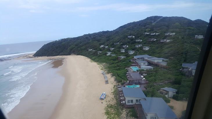 Vista do helicóptero para o White Pearl - Ponta Mamoli - Moçambique © Viaje Comigo