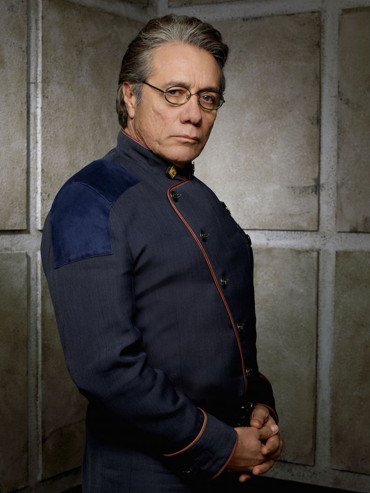 BATTLESTAR GALACTICA -- Pictured: Edward James Olmos as Admiral William Adama -- SCI FI Channel Photo: Justin Stephens