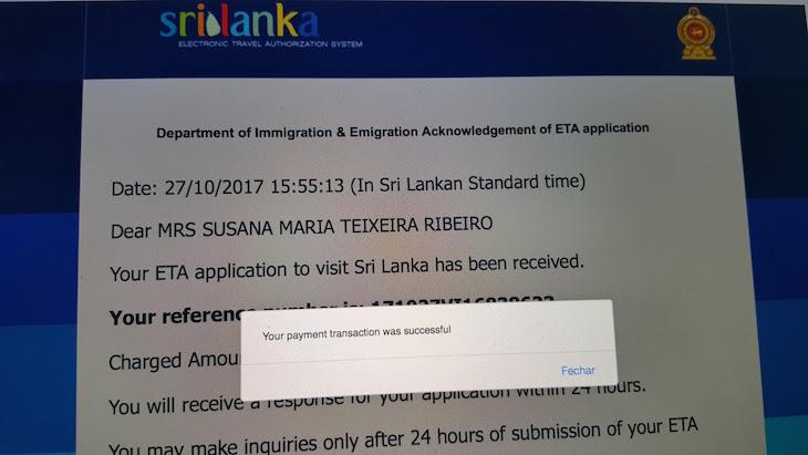 ETA - Visto Sri Lanka © Viaje Comigo
