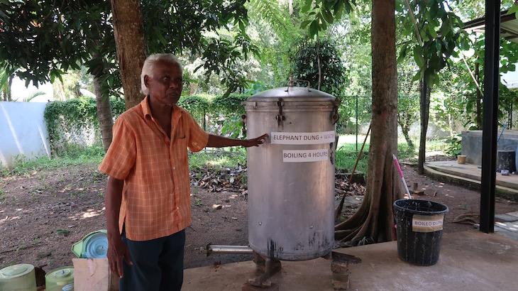Explicação para a produção de papel a partir das fezes - Pinnawala - Sri Lanka © Viaje Comigo