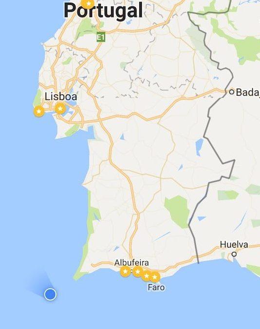 Mapa a caminho de Lisboa com cruzeiro MSC Magnifica - o navio é o ponto azul