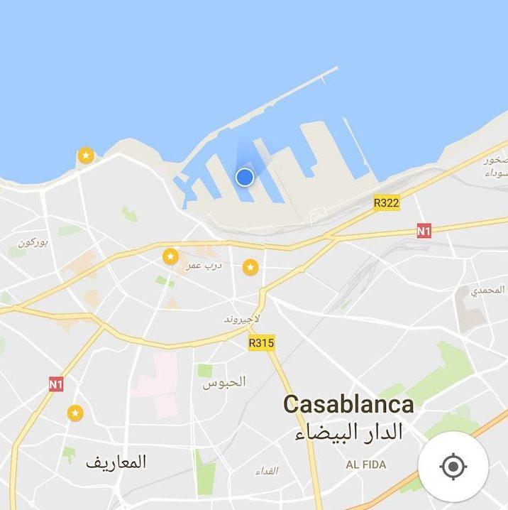 Mapa em Casablanca com cruzeiro MSC Magnifica - o ponto azul é o navio