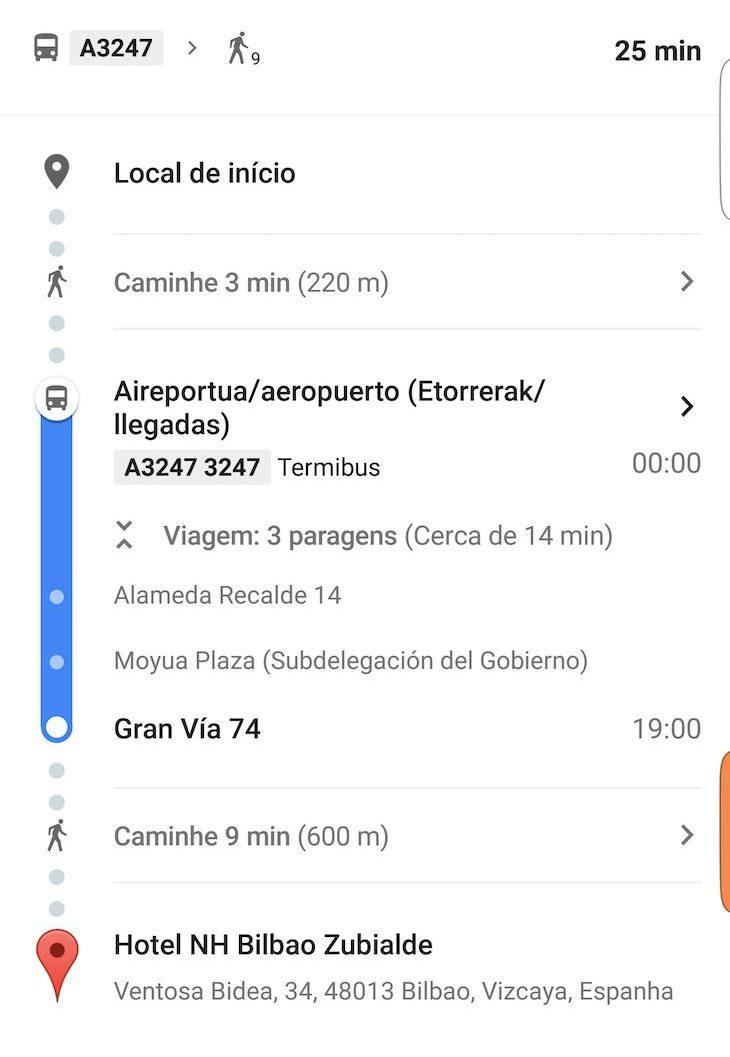 Percurso do autocarro do aeroporto para o hotel em Bilbau © Viaje Comigo