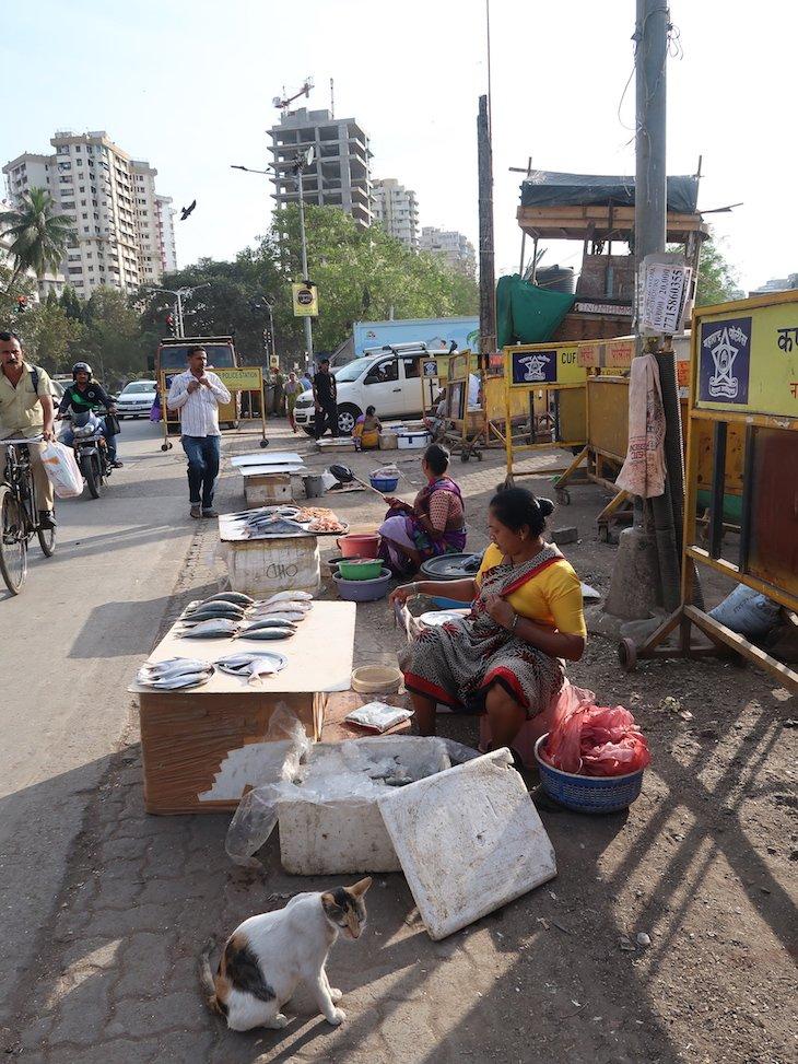 Vender peixe na beira de estrada - Bombaim - Índia © Viaje Comigo