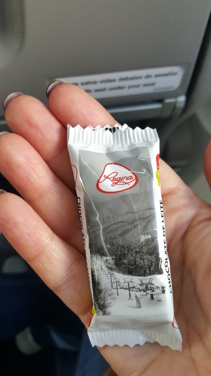 Chocolate da Regina oferecido na Ponte Aérea da TAP © Viaje Comigo