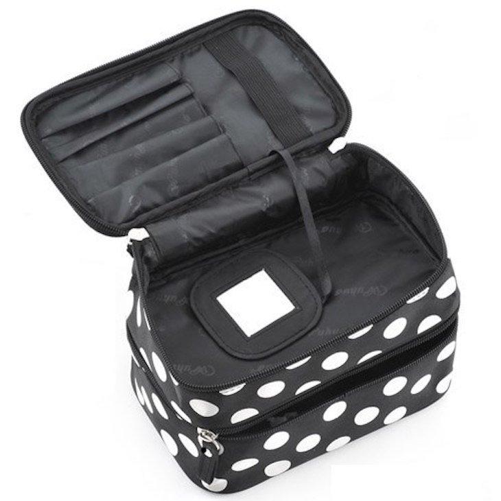 Bolsa com compartimento duplo e espelho
