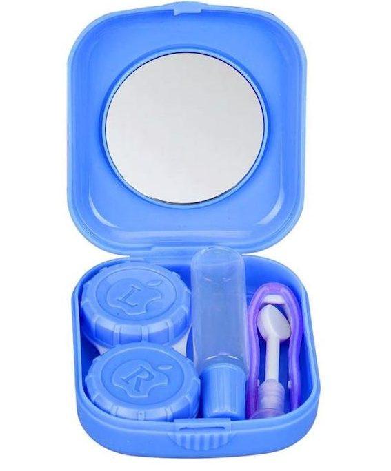 Caixas para guardar as lentes de contacto e líquido