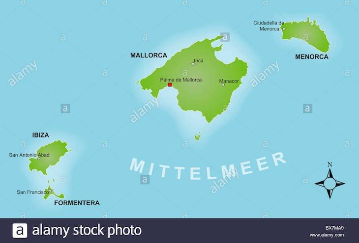 Mapa de Espanha - Ilhas Baleares