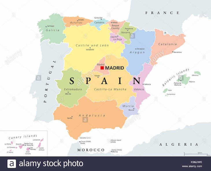 Mapa de Espanha - Comunidades Autónomas