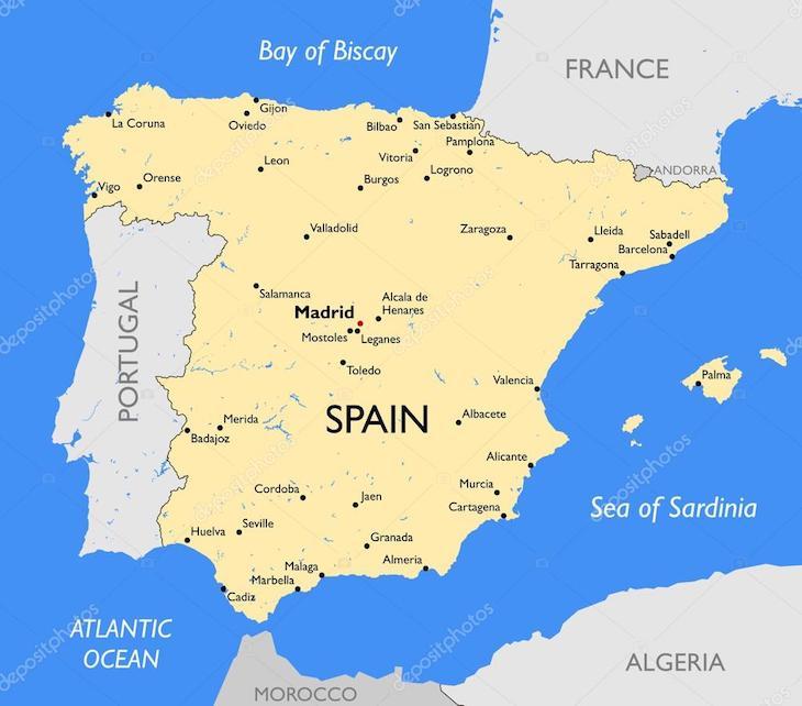 Mapa de Espanha - Deposit Photo